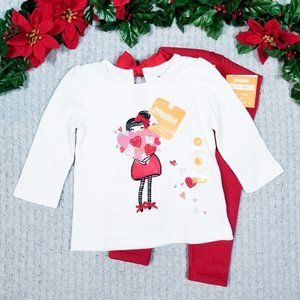 Gymboree baby girl warm red heart outfit set